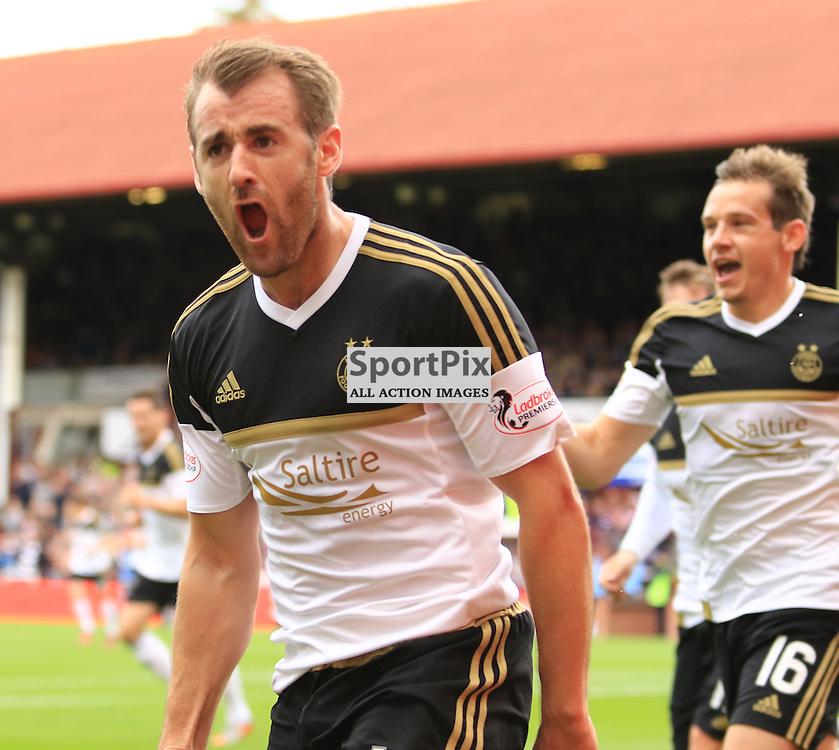 Aberdeen's Niall McGinn celebrates after scoring  the second goal during the Heart of Midlothian FC  V Aberdeen FC  Scottish Premiership  20th September 2015  ©Edward Linton | SportPix.org.uk