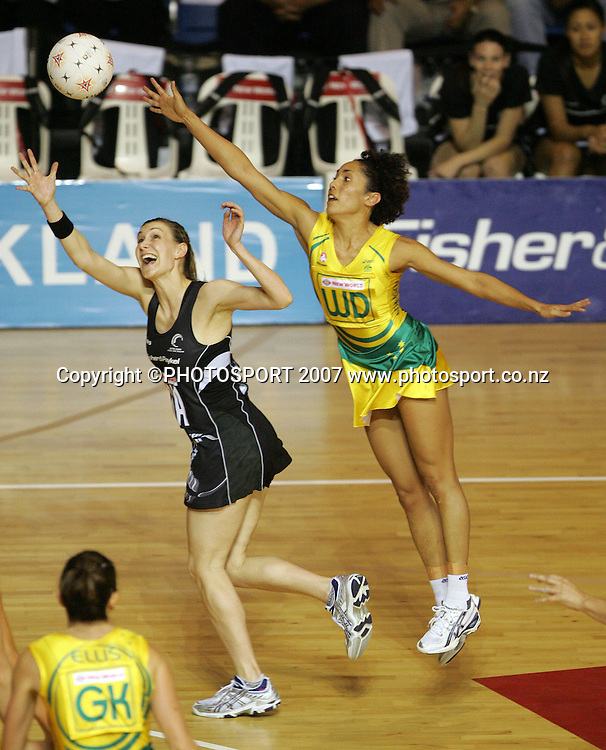 Silver Fern captain Adine Wilson (L) and Australian wing defence Selina Gilsenan during the Final of the Netball World Championships between New Zealand & Australia, Auckland, New Zealand, Friday, Nov. 16 2007. Photo: Hagen Hopkins/PHOTOSPORT