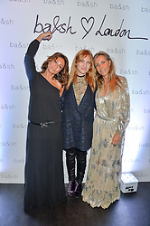 Left to right, SHARON KRIEF, JOSEPHINE DE LA BAUME and BARBARA BOCCARA at a party to celebrate the UK launch of French fashion label ba&sh at The Arts Club, Dover Street, London on 15th March 2016.