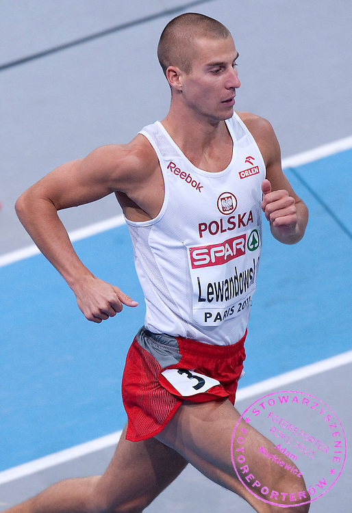 MARCIN LEWANDOWSKI (POLAND) COMPETES IN MEN'S 800 METERS SEMI FINAL DURING EUROPEAN ATHLETICS INDOOR CHAMPIONSHIPS PARIS 2011 AT BERCY HALL...PARIS , FRANCE , MARCH 05, 2011..( PHOTO BY ADAM NURKIEWICZ / MEDIASPORT )..PICTURE ALSO AVAIBLE IN RAW OR TIFF FORMAT ON SPECIAL REQUEST.