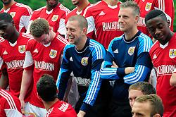 Bristol City's Frank Fielding laughs at a joke during the team photo - Photo mandatory by-line: Dougie Allward/JMP - Tel: Mobile: 07966 386802 31/07/2013 - SPORT - FOOTBALL - Avon Gorge Hotel - Clifton Suspension bridge - Bristol -  Team Photo