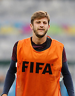 Adam Lallana looks on during the England training session the day before their final Group D match against Costa Rica at Mineirão, Belo Horizonte, Brazil. <br /> Picture by Andrew Tobin/Focus Images Ltd +44 7710 761829<br /> 23/06/2014