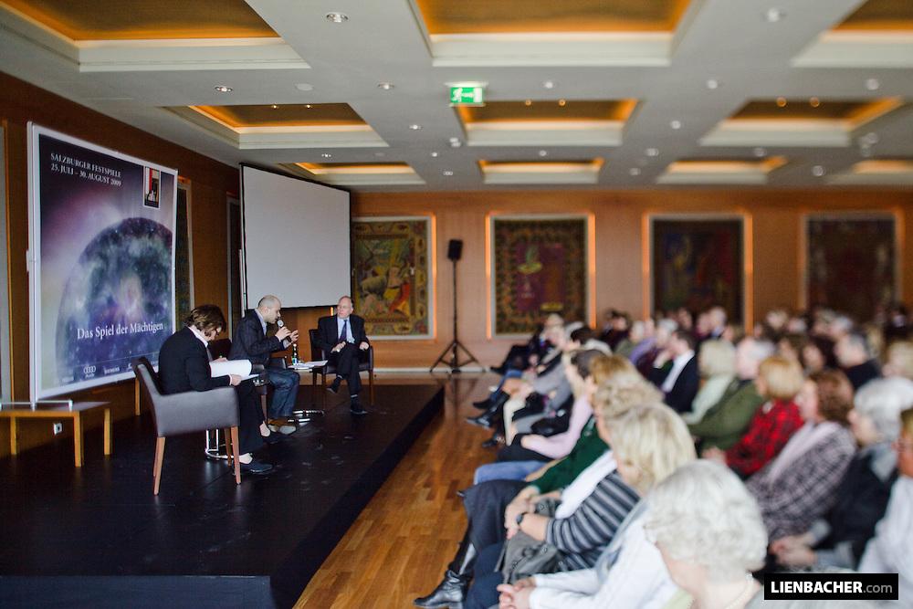 Salzburg, 7. 3. 2009, Haus für Mozart, Salzburg Kulisse: Helga Rabl-Stadler, Bejun Mehta und Jürgen Seeger (Bayern 4 Klassik) beim Teffpunkt Festspiele. Foto: Wolfgang Lienbacher