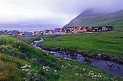 Evening view of village of GjÛjv, Eysturoy, Faroe Islands