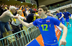 Jan Klobucar of Slovenia celebrates after winning during volleyball match between National Teams of Slovenia and Portugal in 3rd Round of 2015 CEV Volleyball Men European Championship Qualifications, on May 24, 2015 in Arena Tabor, Maribor, Slovenia. Photo by Vid Ponikvar / Sportida