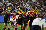 High fives and hugs all round from the Chiefs during the Investec Super 15 Rugby match, Chiefs v Stormers, at Waikato Stadium, Hamilton, New Zealand, Saturday 14 May 2011. Photo: Dion Mellow/photosport.co.nz