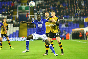 Birmingham'sCheikh Ndoye and Sheffield's Adam Reach during the EFL Sky Bet Championship match between Birmingham City and Sheffield Wednesday at St Andrews, Birmingham, England on 27 September 2017. Photo by John Potts.