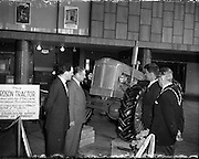A Fordson tractor on display as part of the Italian Made Exhibition at Busáras, Dublin.  Picture includes the Italian Ambassador Dr. E. Martimo and The Lord Mayor of Dublin, Clr. P.A. Brady..09.05.1960