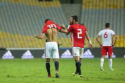 November 16, 2018 - Alexandria, Egypt - Egypts Mohamed salah celebrates his goal during the Africa Cup of Nations qualifier match between Egypt and Tunis in Borg Al-Arab stadium in Alexandria, Egypt, on 16 November 2018.  Egypts beat tunis 3-2. (Credit Image: © Ahmed Awaad/NurPhoto via ZUMA Press)