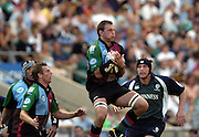 20040904 London Irish v Harlequins. Zurich Premiership. .Quins karl Rudzki, collecting the high ball..Photo  Peter Spurrier.email images@intersport-images Mob +447973819551.