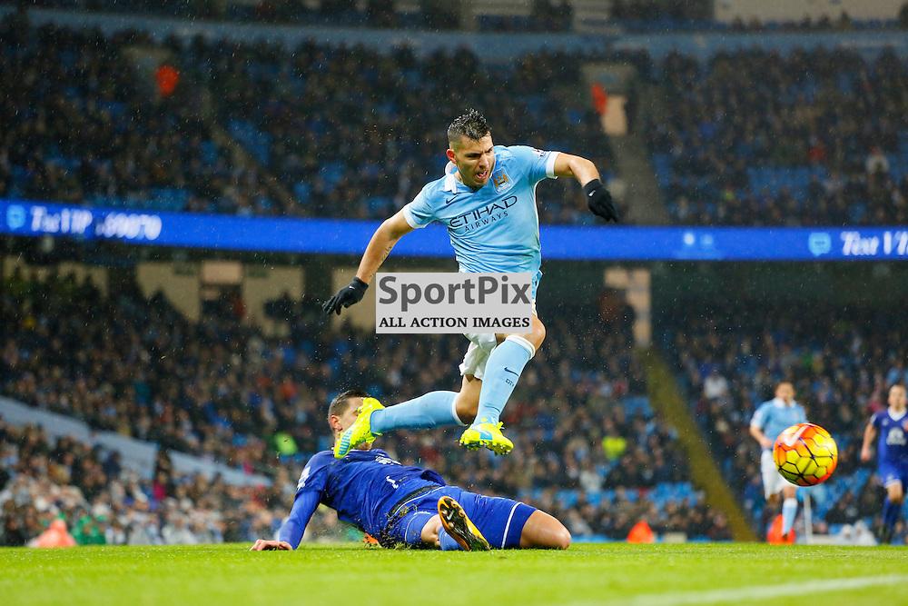 Sergio Aguero during Manchester City vs Everton, Barclays Premier League, Wednesday 13th January 2016, Etihad Stadium, Manchester