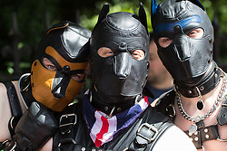 Portland Place, London, June 25th 2016.Revellers in  fetish masks pose for pictures as thousands of LGBT people and their supporters gather for Pride in London, a colourful celebration of the hard-won rights of lesbian, gay, bisexual and transgender people.