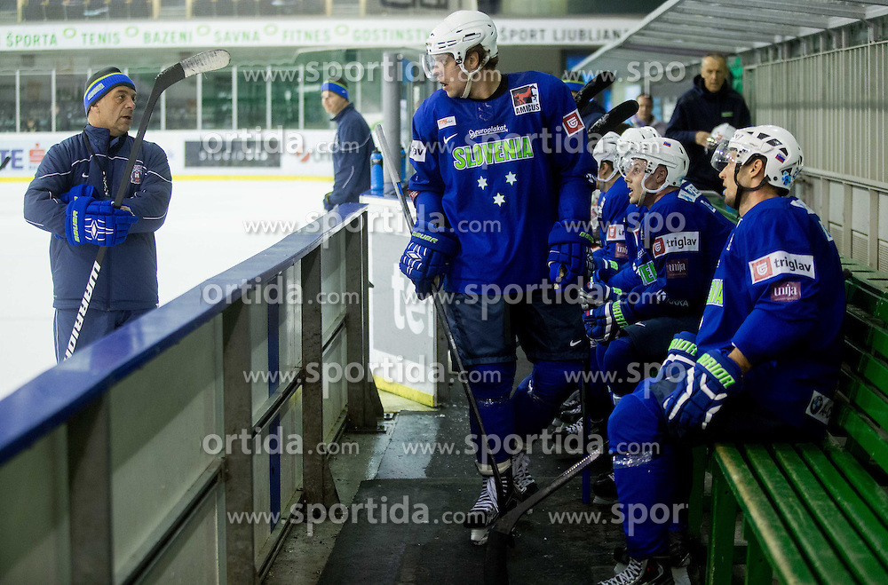 Matjaz Kopitar and Anze Kopitar during practice session of Slovenian National Ice Hockey Team prior to the IIHF World Championship in Ostrava (CZE), on April 21, 2015 in Hala Tivoli, Ljubljana, Slovenia. Photo by Vid Ponikvar / Sportida