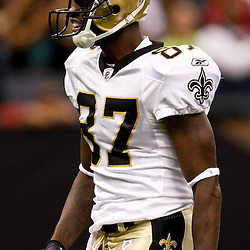 August 21, 2010; New Orleans, LA, USA; New Orleans Saints wide receiver Adrian Arrington (87) reacts after making a reception during the second quarter of a preseason game at the Louisiana Superdome. Mandatory Credit: Derick E. Hingle