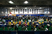 The field house at Goergen Athletic Center hosts a new student expo fair on move-in day for new students at the University of Rochester on Tuesday, August 25, 2015.