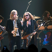 My Morning Jacket, with Carl Broemel on saxaphone and frontman Jim James, peform at Verizon Theatre in Grand Prarie. (Special to the Star-Telegram/Rachel Parker)