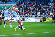 Manchester City Women defender Steph Houghton (captain) (6) takes a shot during the FA Women's Super League match between Manchester City Women and BIrmingham City Women at the Sport City Academy Stadium, Manchester, United Kingdom on 12 October 2019.