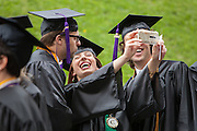 Honors College student Renee Hagerty takes a selfie with fellow student Taylor Reinhart,left and Tyler Borchers before the start of the Ohio University Commencement ceremony Saturday May 3, 2014.  Photo by Ohio University / Jonathan Adams