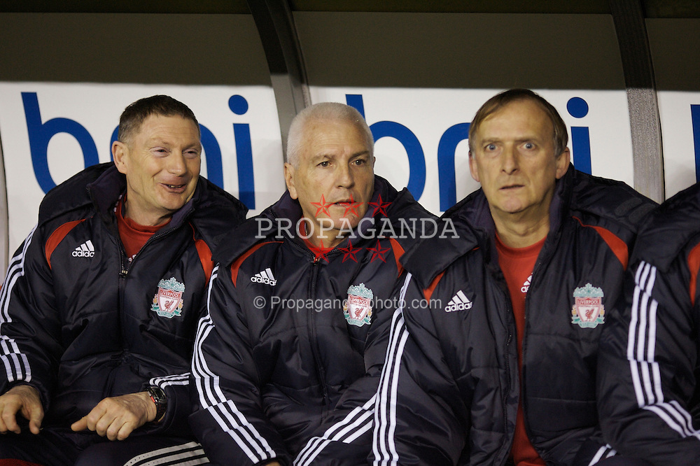 Sheffield, England - Thursday, February 15, 2007: Liverpool's Academy Director Steve Heighway (C), Under-18 coach John Owens (R) and Under-16 coach Dave Shannon (L) watch from the bench as his young side defeat Sheffield United 3-1 during the FA Youth Cup Quarter-Final match at Bramall Lane. (Pic by David Rawcliffe/Propaganda)