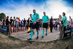 referee Rob Dieperink leads the teams to the pitch during the Friendly match between Go Ahead Eagles and Excelsior Rotterdam at sportcomplex SV Terwolde on July 20, 2018 in Terwolde, The Netherlands