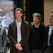 February 28, 2014, Palm Springs, California: <br /> (From left to right) Former players John McEnroe, Peter Fleming, Jim Courier, and Rick Leach are introduced during the McEnroe Challenge for Charity VIP Draw Ceremony in the newly constructed Stadium 2 at the Indian Wells Tennis Garden. <br /> (Photo by Billie Weiss/BNP Paribas Open)
