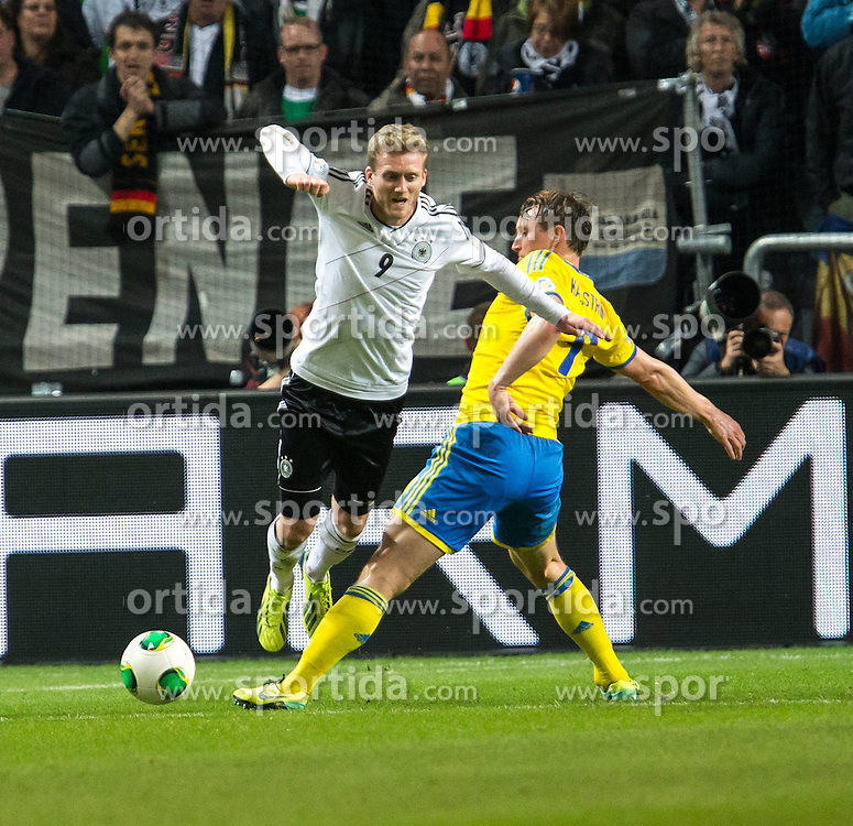 15.10.2013, Friends Arena, Stockholm, SWE, FIFA WM Qualifikation, Schweden vs Deutschland, Gruppe C, im Bild Germany 9 Andre Schürrle Schurrle Sverige 9 Kim K©llstr©m, , , Nyckelord , Keywords : football , fotboll , soccer , FIFA , World Cup , Qualification , Sweden , Sverige , Schweden , Germany , Tyskland , Deutschland // during the FIFA World Cup Qualifier Group C Match between Sweden and Germany at the Friends Arena, Stockholm, Sweden on 2013/10/15. EXPA Pictures © 2013, PhotoCredit: EXPA/ PicAgency Skycam/ Ted Malm<br /> <br /> ***** ATTENTION - OUT OF SWE *****