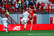 Hamilton Academical Midfielder Dougie Imrie and Aberdeen FC Defender Mark Reynolds jump for the ball during the Ladbrokes Scottish Premiership match between Hamilton Academical FC and Aberdeen at New Douglas Park, Hamilton, Scotland on 22 November 2015. Photo by Craig McAllister.