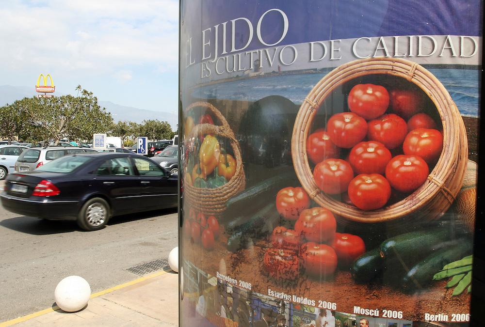 """EUROPE - SPAIN - EL EJIDO ; Illegal Immigration - VEGETABLE & FRUIT Production in Andalusia ; EL PLASTICO ; Exploitation of African workers;.The fruits and vegetables grown in the area are worth about $1.8 billion a year. Most of the workers are Moroccans, often called """"Moros"""" in reference to the Moors who ruled southern Spain for 700 years; Europa - SPANIEN - Landwirtschaft.Die Region um El Ejido, Provinz Almeria in Andalusien, gilt als Europas  größter agrarindustriell genutzter """"Wintergarten"""". Unter ca. 36.000 Hektar Plastik (Treibhäusern) wird ganzjährig Obst und Gemüse angebaut, welches zum Großteil in Supermärkten in Nordeuropa, Deutschland und England verkauft wird... Unter den Plastikplanen werden ca. 60.000, meist illegale Einwanderer aus Marokko, Schwarzafrika, Osteuropa beschäftigt. Arbeitsschutz und Mindestlöhne werden nicht eingehalten. .HIER: Gewerbegebiet in El Ejido, Konsum & Reichtum; Werbung für Landwirtschaftliche Produkte; """" Die Kultur der Qualität"""" ....24.03.2007.Copyright: Christian Jungeblodt"""