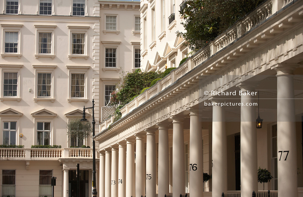 Immaculate frontage with columns and pillars of the classically-designed Victorian properties in Eaton Square Belgravia, SW1