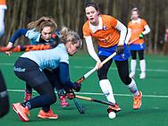 BLOEMENDAAL - Pien Tol (Bldaal) met links Pien Tol (Bldaal)   hoofdklasse competitie dames, Bloemendaal-Nijmegen (1-1) COPYRIGHT KOEN SUYK