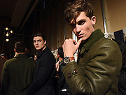 Model Jason Anthony debuts the Timex Waterbury Red Wing watch backstage at the Todd Snyder Fall 2016 show, introducing the Timex x Todd Snyder partnership, at New York Fashion Week: Men's, Thursday, Feb. 4, 2016. (Diane Bondareff/AP Images for Timex)