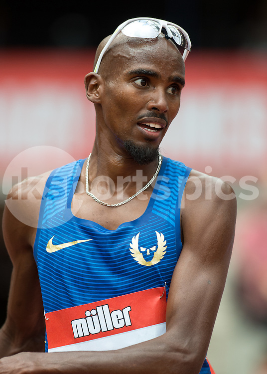 Mo Farah (GBR) during the London Muller Anniversary Games at Queen Elizabeth Olympic Park, London, United Kingdom on 23 July 2016. Photo by Vince Mignott.