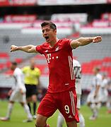 GOAL Celebration Jubel des Torschützen Robert Lewandowski #9 von FC Bayern Muenchen nach dem 2:0  During the Bayern Munich vs SC Freiburg Bundesliga match  at Allianz Arena, Munich, Germany on 20 June 2020.