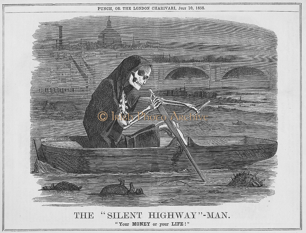 The 'Silent Highway'-Man': Your Money or your Life.  More an open sewer than a river, the disgusting state of the Thames in London.  Cartoon from 'Punch', London, 1858.