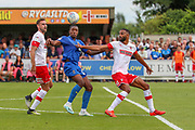 AFC Wimbledon attacker Michael Folivi (17) battles for possession during the EFL Sky Bet League 1 match between AFC Wimbledon and Rotherham United at the Cherry Red Records Stadium, Kingston, England on 3 August 2019.