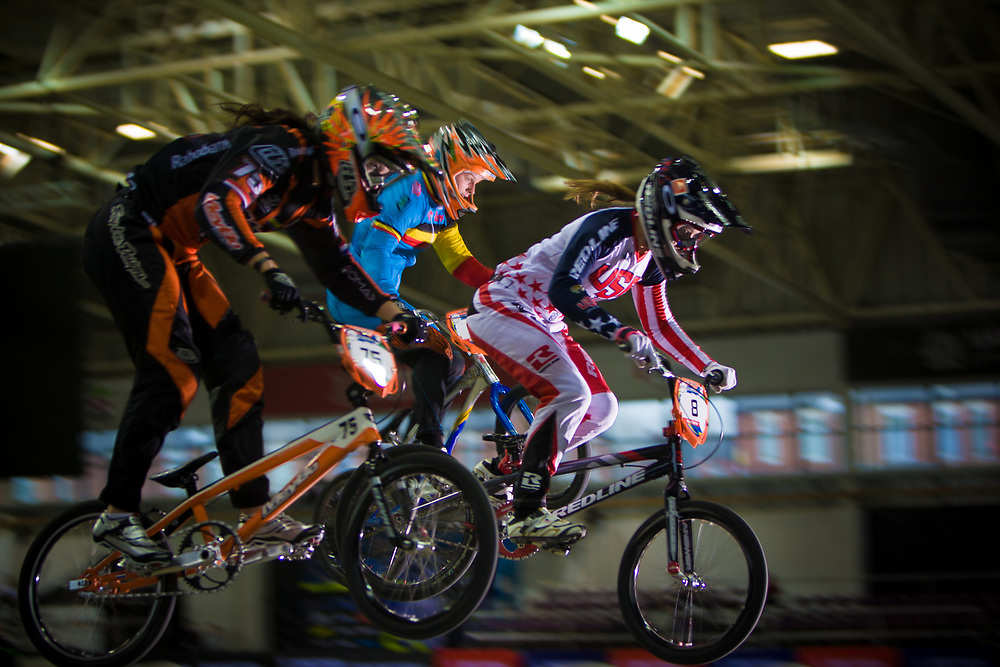 #75 (VAN BENTHEM Merle) NED and  #8 (POST Alise) USA at the UCI BMX Supercross World Cup in Manchester, UK