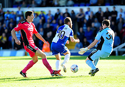 Dover Athletic's Andy Rafferty blocks Bristol Rovers' Matty Taylor shot - Photo mandatory by-line: Neil Brookman - Mobile: 07966 386802 - 04/10/2014 - SPORT - Football - Bristol - Memorial Stadium - Bristol Rovers v Dover - Vanarama Football Conference