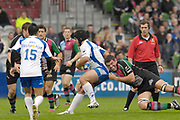Twickenham. Great Britain, Quins, Nicolas SPANGHERO, tackles Montpelliers Joan CAUDULLO, during the, European Challenge Cup, match between, NEC Harlequins and Montpellier, on Sat., 28/10/2006, played at the Twickenham Stoop, England. Photo, Peter Spurrier/Intersport-images]......