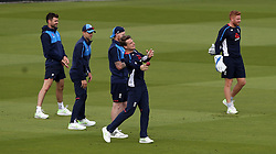 England's Jos Butler throws the ball back during the nets session at Lord's, London.