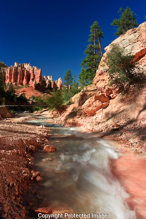 Cool fast running water running through the red and pink slick rock.