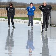 NLD/Biddinghuizen//20170305 - De Hollandse 100 - Stichting Lymph & Co 2017, Prinses Margriet aan het schaatsen met haar zoon Prins Maurits