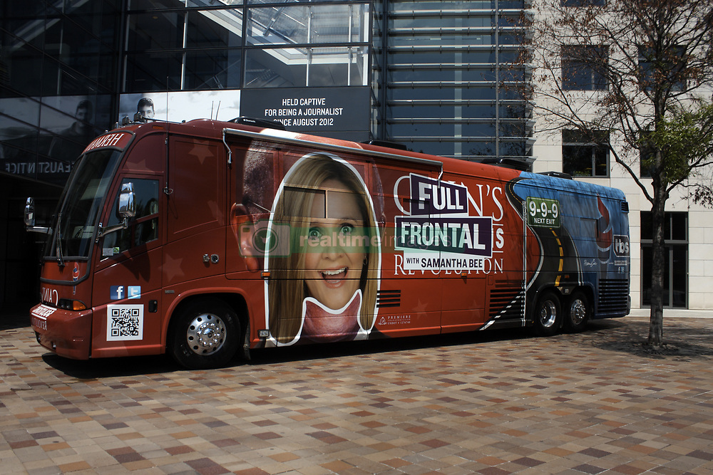 April 28, 2017 - Washington, DC, U.S - A bus advertising the show ''Full Frontal with Samantha Bee'' can be seen here parked on the sidewalk next to the Newseum's Pennsylvania Avenue entrance in Washington, DC the day before Bee's ''Not the White House Correspondents' Dinner'' was scheduled to take place at DAR Constitution Hall. (Credit Image: © Evan Golub via ZUMA Wire)