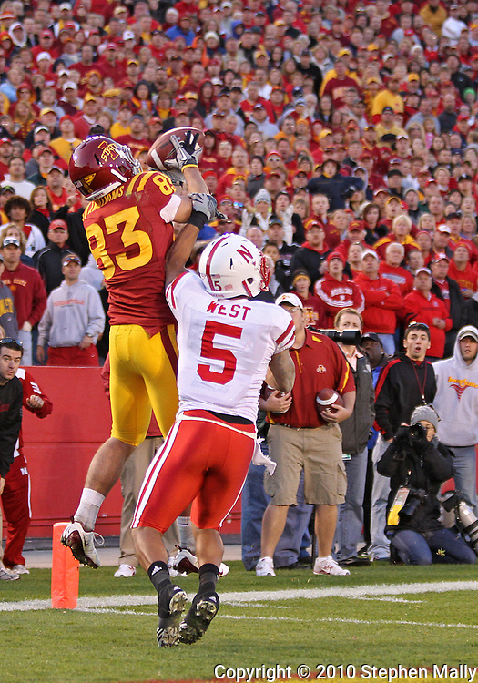 November 06 2010: Iowa State Cyclones wide receiver Jake Williams (83) pulls in a 9 yard pass for a touchdown in front of Nebraska Cornhuskers defensive back Anthony West (5) during overtime of the NCAA football game between the Nebraska Cornhuskers and the Iowa State Cyclones at Jack Trice Stadium in Ames, Iowa on Saturday November 6, 2010. Nebraska defeated Iowa State 31-30.