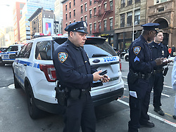 Oct. 31, 2017- New York, U.S. - Police officers stand guard after six people were killed in New York when the driver of a truck mowed down people on a pedestrian and cycle path in Lower Manhattan. A man who emerged from the vehicle brandishing imitation guns was shot and arrested by police officers. Police urged people to avoid the area as a major emergency services operation got under way.. (Credit Image: © Sun Oumeng/Xinhua via ZUMA Wire)