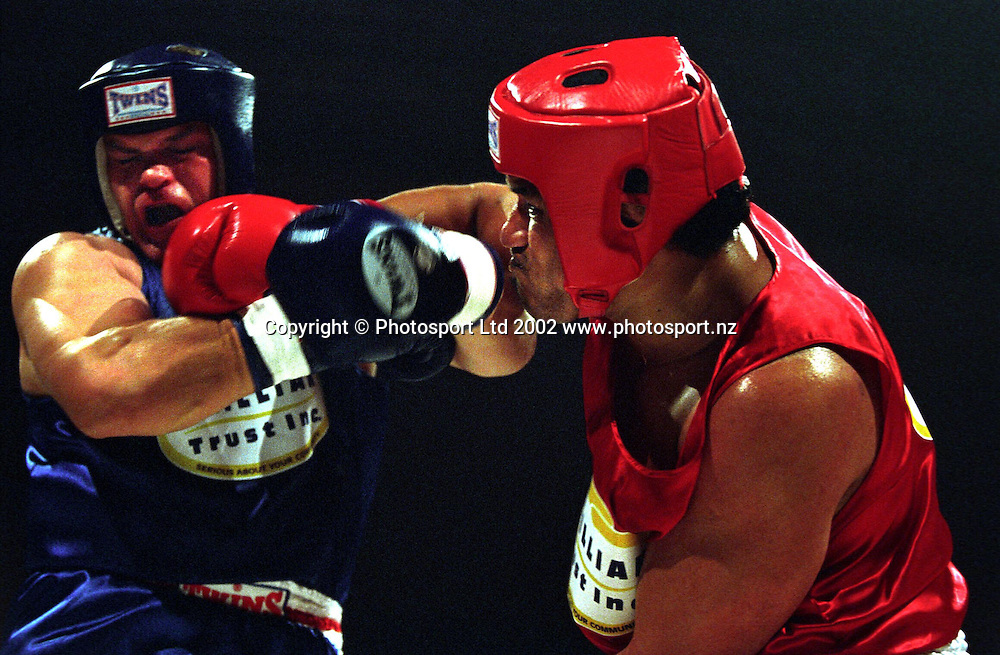 Fatu Patolo in action during the Fight For Life boxing fundraiser, 6 June, 2002, North Shore Events Centre, Auckland. Photo: PHOTOSPORT