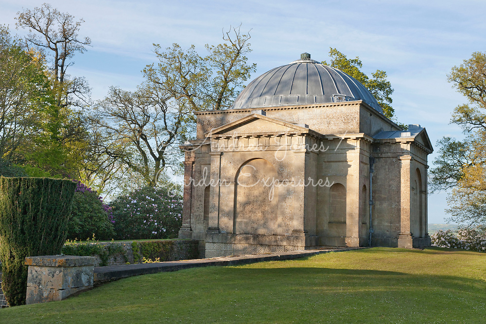 The Robert Adam designed Shelburne Mausoleum in Lime Kiln Wood at Bowood House and Gardens, Wiltshire, England