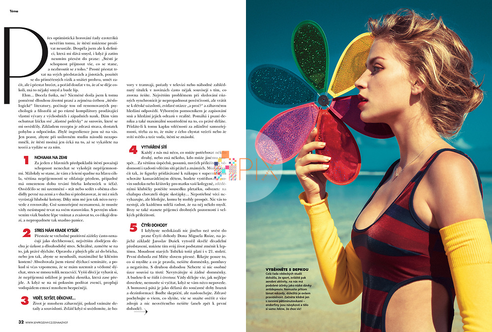 Light Therapy is a cool and colourful 6-page summer skin feature in the August issue of Zena a Zivot, Czech Republic.<br /> <br /> The images are from our shoot 'laguna' which is available with a full release:  https://www.apixsyndication.com/gallery/laguna/G0000BXtILt5RW6A/C0000_IxwY7r7lOE