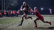 Dragons' Rynard Landman fends off the tackle of Edinburghs' Duhan van der Merwe on his way to the try line.<br /> <br /> Photographer Simon Latham/Replay Images<br /> <br /> Guinness PRO14 - Dragons v Edinburgh - Friday 23rd February 2018 - Eugene Cross Park - Ebbw Vale<br /> <br /> World Copyright © Replay Images . All rights reserved. info@replayimages.co.uk - http://replayimages.co.uk