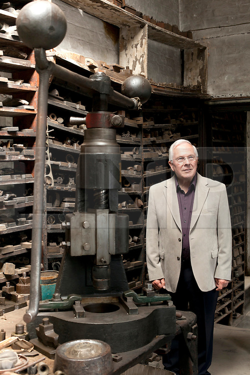 © licensed to London News Pictures. 19/05/2011. Birmingham, UK. English Heritage has stepped in and aquired JW Evans silver workshop to save it, and its contents, from developers. A family Silverware factory founded in 1881 in the heart of Birmingham's historic jewellery Quarter. Pictured, Tony Evans, Grandson of the founder and the last owner in his office preserved as it was the day he left. Please see special instructions for usage rates. Photo credit should read Dave Warren/LNP