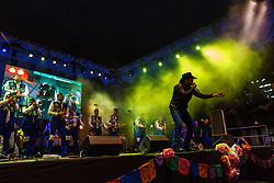 SANTA ANA, CA - SEPT 14  Regional Mexican star, Dasahev Lopez Saavedra from the band El Dasa, sings an emotional song in front of a crowd of hundreds at the annual Fiestas Santa Ana on Fourth street in Santa Ana, CA on Sept. 14, 2014. Byline, credit, TV usage, web usage or linkback must read SILVEXPHOTO.COM. Failure to byline correctly will incur double the agreed fee. Tel: +1 714 504 6870.